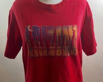 Vintage Clothing, Vintage Tourist Shirt, Arizona Shirt, Desert Shirt, Cactus Lettering, Desert Landscape, Cactus Shirt, Arizona Tee Shirt