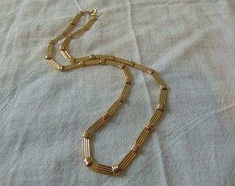 trifari necklace gold flat ribbed links signed vintage 18''