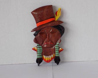 Vintage 40's Wooden Indian Head Pin