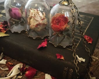 Dried Flower Curio Necklace ~ Choice of Flower in Glass Cage with Bronze Filigree Pendant ~ Gothic Victorian Rose Ranunculus Oddity