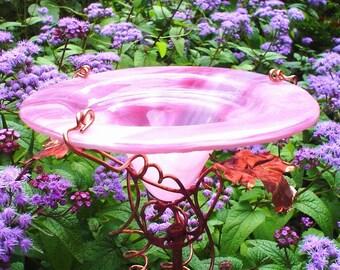 HOSTESS GIFT, Garden Butterfly Feeder, stained glass and copper, Pink, Garden Art