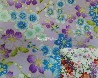 Japanese cherry blossoms and dew, gold metallic, 1/2 yard, pure cotton fabric