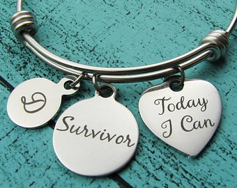 survivor bracelet, today I can jewelry, AA NA addiction recovery gift, sobriety bracelet, strength strong woman, mental health awareness