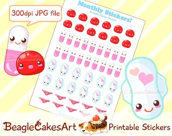 Period Stickers. Printable Stickers. Instant Download. Planner Stickers. Menstrual Stickers. Period Tracker. Happy Planner. Kawaii Stickers.