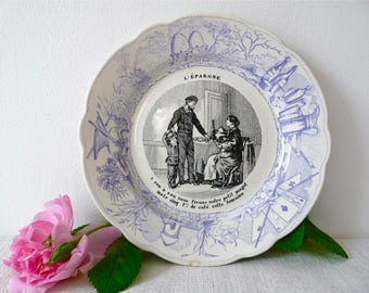 French Talking Plate - Décorative Plate - French Vintage Plate - French Farmhouse - Talking Plate - French Ironstone -