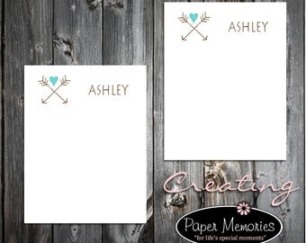 Arrow Rustic Notepad Set Personalized Stationery Set- 2 Notepads - Makes a great gift -