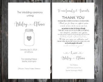 100 Mason Jar Wedding Ceremony Programs