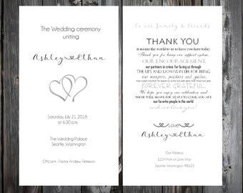 100 Hearts Wedding Ceremony Programs