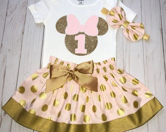 Pink and Gold Minnie Mouse, Cake Smash Outfit, Baby Girl 1st Birthday Outfit, Knot Bow Headband, Complete Onesie Skirt Set, Glitter Minnie