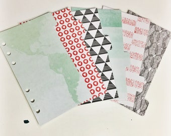 Personal Sized Laminated Dividers For Filofax Medium Kikki-k Planner Mint Red and Black Map Hearts Geometric Triangles Watercolor Dots Webs