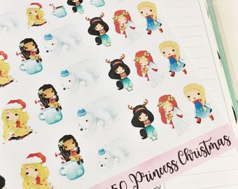 0050 Tiny Princess Christmas Holiday Coffee Angel Decorative Sheet of Stickers Planner Stickers Erin Condren Life Planner Happy Planner