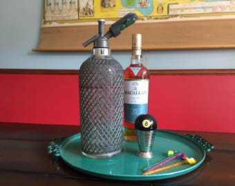 Vintage Sparklet's Seltzer Bottle New York Glass and Metal Mesh Covered Seltzer Bottle Vintage Glam Retro Bar Seltzer Bottle