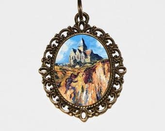 Church At Varengeville Necklace, Scenery, Claude Monet, Morning, Fine Art, Bronze Oval Pendant