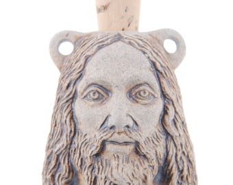 Jesus Head High Fire Ceramic Vessel