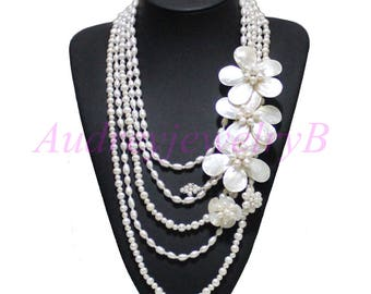 5 Strand  Natural Freshwater Pearl  MOP shell Flower Necklace, wedding gift  ,Pearl  Necklace