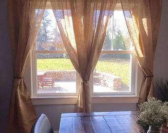 "4 Burlap Curtains 84"" No Odor Burlap Panels Rustic Home Decor Custom Size Available Neutral Home Decor"