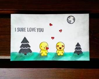 Handmade Mini Love Greeting Card, Paper Notecard, Watercolor Greetings, Anniversary Card