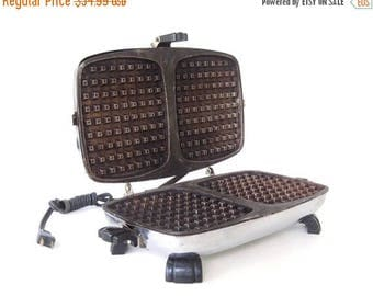 SALE Old Waffle Iron Antique Bersted 361 Small Appliances Chrome 1940s Kitchen Food Photography Prop