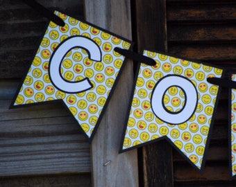 Emoji Birthday Banner, Emoji Party Banner, Emoji Theme