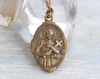 St Gerard Necklace - Pray For Us Brass Medallion on Chain Necklace