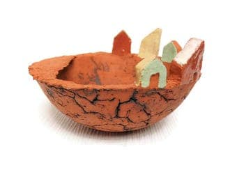 Ceramic bowl with houses ceramic sculpture ceramic ring dish clay bowl with tiny houses housewarming gift ceramic statuette