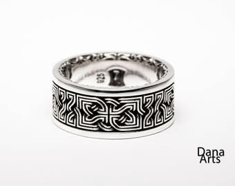 Celtic knot band - decorative edge -  wide - Sterling Silver