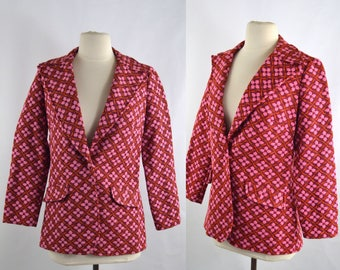 1960s Pink and Orange Stylized Flower Fitted Blazer by Charlotta of California by Glazier