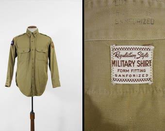 Vintage 50s US Army Shirt Khaki Twill VFW Long Sleeve Sanforized Button Up - Large