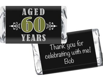 Set of 36 - Vintage Aged to Perfection Miniatures Candy Bar Labels - 40th, 50th, 60th, 70th, 80th Any Age - Adult Birthday Favors