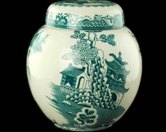 Vintage Mason's Ironstone Transferware Ginger Jar in the 'Willow Green' Pattern