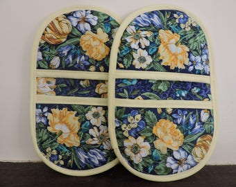 Mini Microwave Mitts-Oven Mitts-Pinchers-Blue w/Yellow flowers & Yellow Trim-Free Shipping