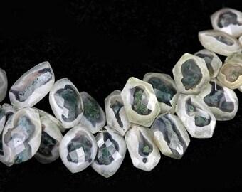 SUMMER SALE Solar Quartz Faceted Fancy Freeform Briolettes 1 Piece White Forest Green Semi Precious Gemstones