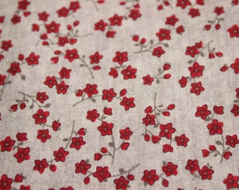 Grey and red mini floral cotton fabric, red ditsy floral quilting fabric, craft cotton, quilting fabric, sewing supply, UK fabric shop