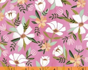 Blush and Blooms - White Flower Pink by Iza Pearl Design  from Windham Fabrics