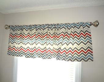 Curtain Valance Topper Window Treatment 53x15 Multi Color Zig Zag Chevron Valance Blue Red Grey