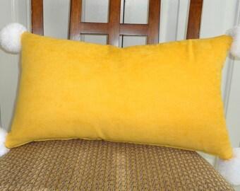 Large Pom Pom Pillow Yellow Pom Pom Pillow Lumbar Pillow Fun Pom Poms 12x20