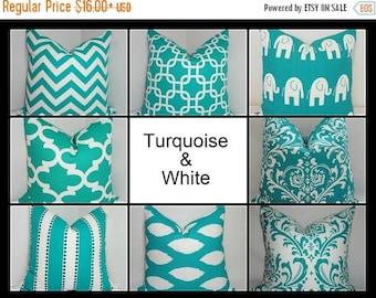 SPRING FORWARD SALE Turquoise & White Stripe Dot Ikat Chevron Geometric Elephant Pillow Cover Decorative Throw Pillow Cover