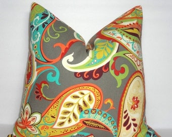 SPRING FORWARD SALE Covington Whimsy Multi-color Paisley Print Pillow Covers Decorative Throw Pillow Covers All Sizes
