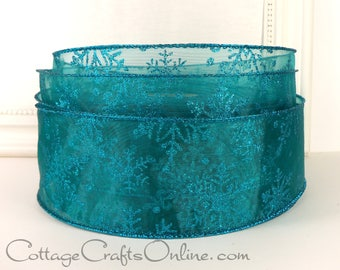 "Wired Christmas Ribbon, 2 1/2""  Turquoise Aqua Blue Sheer Snowflakes Glitter - THREE YARDS - ""Turquoise Snowflake"" Wire Edged Ribbon"