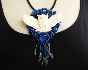 Owl and Lapis Amulet Bead Embroidery Pendant Necklace INBW
