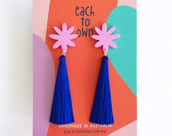 Flora Tassel Drop - Lilac Pink and Cobalt Electric Blue Tassel - Laser Cut Acrylic Flower Drop Earrings - Each To Own Original