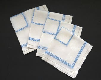 Vintage Damask Napkins - Set of 4 - Cornflower Blue Flowers on Pure White - Drawn Work Hems - Dinner Luncheon Napkins