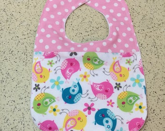YOUR CHOICE of Baby Bibs - Cotton with 1-3 Fabrics - Absorbent Flannel Backing, Snap Closure