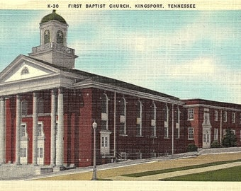 Postcard - Vintage Postcard - Kingsport - Tennessee - First Baptist Church - Mixed Media - Unused (G1)