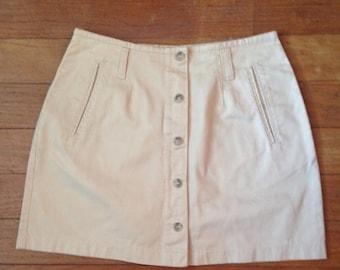 HUGE SALE Vintage 90s tan button down skirt