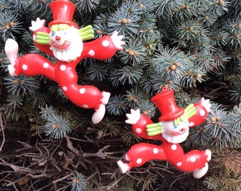 Vintage Pair of Red and White Polka Dot Plastic Dancing Clowns Christmas Ornaments, Vintage Christmas Tree Decorations, Vintage Christmas