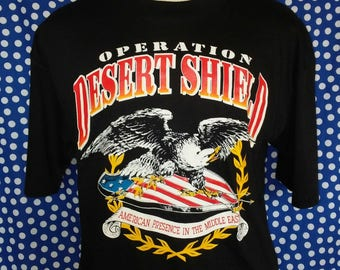 1990 Operation Desert Shield t-shirt, never washed or worn, fits like a large