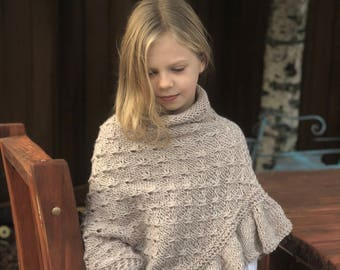 asymmetric knitted poncho ,Girls knitted poncho