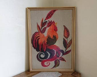 Framed Vintage Cockerel Tapestry in Orange - Farm, Country, Birds. Framed or Unframed