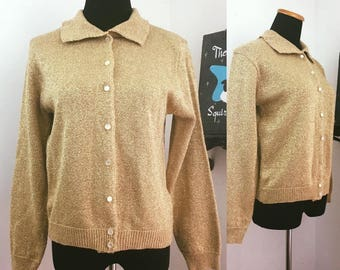 Lap of Luxury // 1980s does 60s Sweater Girl Gold Lurex Knit Collared Cardigan